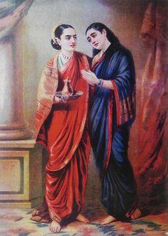 Draupadi and Sudeshna (Reprint on Paper - Unframed))