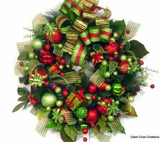 Christmas BlinG red lime wreath Holiday door matching garland available in my store by Cabin Cove Creations
