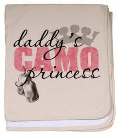 Daddy's pink camo princess baby blanket with military dogtags