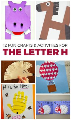 We're learning the letter H! I've gathered a bunch of fun letter H activities to do with your kids. Most of these crafts just look like fun and that is Letter H Activities For Preschool, Preschool Letter Crafts, Abc Crafts, Alphabet Crafts, Daycare Crafts, Classroom Crafts, Alphabet Activities, Preschool Art, Alphabet Book