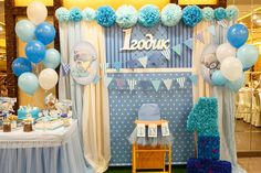 Blue Party Decorations, Balloon Decorations, Baptism Cake Pops, Baptism Invitations, Birthday Balloons, Event Decor, Blue And Silver, Backdrops, Kids Part