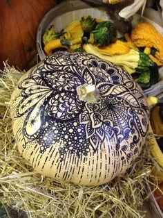 Pen inked pumpkin. Looks like henna.