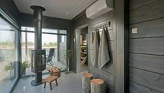 Look at the website above just click the bar for additional choices in house sauna Finnish Sauna, Home Greenhouse, Wooden House, House Made, Log Homes, Home And Living, Villa, Cottage, House Design