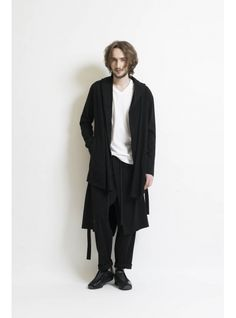 Tumbler Jersey Drape Hood Cardigan 詳細画像 Black 4