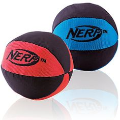 Nerf Dog Trackshot Crunch and Squeak Ball Dog Toy MediumLarge 2Pack Blue and Red * Details can be found by clicking on the image.