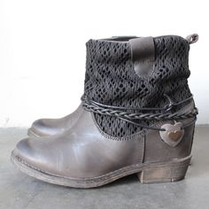 coolway - clea leather & fabric braid detailed hidden wedge ankle boots in distressed black - shophearts - 1