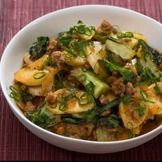 "Recipe: Korean Tteok & Spicy Pork ""Ragù"" with Baby Bok Choy - Blue Apron"