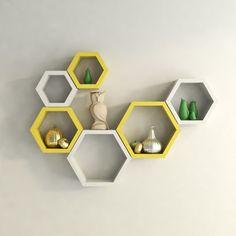Desi Karigar Wall Mount Shelves Hexagon Shape Set of 6 Wall Shelves - White…