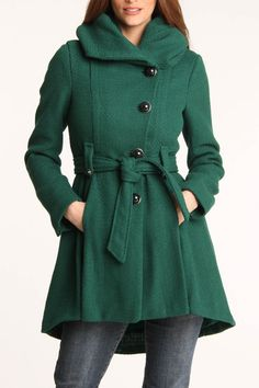Roll Collar/Hood Wool Coat.. Love the color