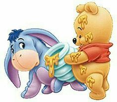 "Baby Winnie the Pooh Offering Some Honey to Eeyore. ""Winnie the Pooh and Friends"" Winne The Pooh, Disney Winnie The Pooh, Disney Drawings, Cute Drawings, Bugs Bunny Drawing, Baby Disney Characters, Baby Clip Art, Cute Disney Wallpaper, Cartoon Pics"