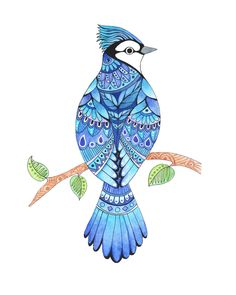 Excited to share this item from my shop: Blue Jay watercolor painting blue jay art folk art style bird bird painting blue jay painting bird artwork bluejay tattoo style art Watercolor And Ink, Watercolor Paintings, Tattoo Watercolor, Watercolor Artists, Art Paintings, Love Birds Painting, Love Birds Drawing, Bird Artwork, Bird Drawings