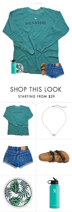 """""""omg read the d"""" by madelinelurene ❤ liked on Polyvore featuring Kendra Scott, Birkenstock and Hydro Flask"""