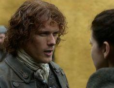 "Claire Fraser (Caitriona Balfe) and Jamie Fraser (Sam Heughan) in Episode 211 ""Vengeance Is Mine"" of Outlander Season Two on Starz"