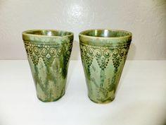 Green Crystalline Ceramic Tumbler Hand by WildCrowFarmPottery, $25.00