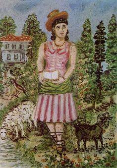 Κοριτσι με το καπελο, Θεόφιλος Κεφαλάς - Χατζημιχαήλ | Καμβάς, αφίσα, κορνίζα, λαδοτυπία, πίνακες ζωγραφικής | Artivity.gr Greek Paintings, Street Art, 10 Picture, Naive Art, Outsider Art, Art Projects, Folk, History, Drawings