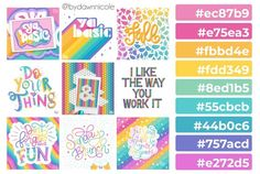 Grab the free color palette, check out the lettering pieces I created and make some of your own! Hex Color Palette, Color Schemes Colour Palettes, Nature Color Palette, Lettering Styles, Hand Lettering, Color Mixing Guide, Rainbow Falls, Color Meanings, Unicorn Art