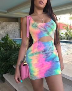 Tie Dye Print Cutout Bodycon Dress dresses and accessories all over the world at competitive prices, and with a high level of customer care. Tie Dye Outfits, Dress Outfits, Girl Outfits, Cute Outfits, Fashion Outfits, Dresses, Dress Fashion, Neon Party Outfits, Robe Bodycon