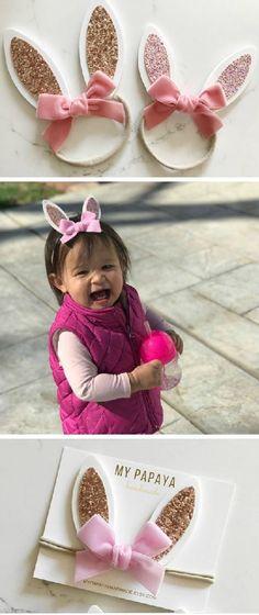 Bunny ears headband | bunny ears | rabbit ears | Easter headband | velvet bow headband | bunny headband | baby bunny ears #easter #firsteaster #ad #babygirl #easterbunny
