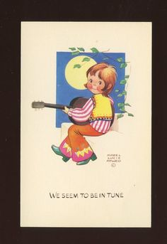 Artist MABEL LUCIE ATTWELL c1960s fashion girl playing guitar PPC #MLA 42-Period:Post-War (1945 - Present)