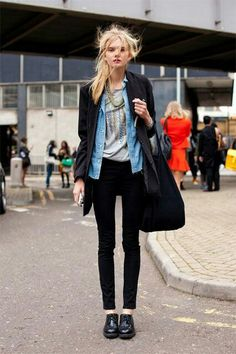 Denim.black patent leather.casual wear.love this look.totally my choice...