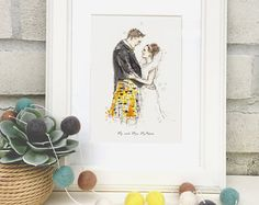 Hand-drawn illustrations from your most special photos by ErinRoseIllustration Personalized Wedding Gifts, Etsy Store, How To Draw Hands, Stationery, Greeting Cards, Unique Jewelry, Handmade Gifts, Illustration, Frame