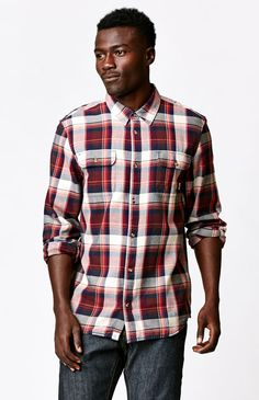Elm Long Sleeve Flannel Button Up Maroon Shirt