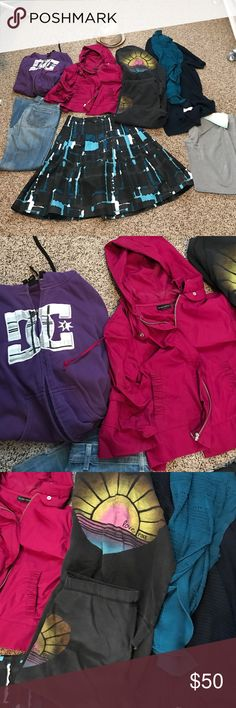 Donating Sunday! Fits Small - Medium! 😱 Small Purple DC sweater guc, small NY Company jacket guc, small Victoria's Secret Capri pant sweat suit used, 2 crochet style cardi's long and from Nordstroms guc, size 6 high waist express studio skirt, size small Bebe sport sweats, small fedora never used. Size 26 citizens of humanity jeans, hemmed for me at 5''2. Just cleaning out my closet, no room! PINK Victoria's Secret Other