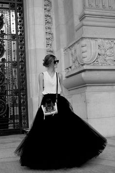 I LOVE this. Take a taffeta or tulle skirt through a tank on some sunglasses and wear it everywhere. I like doing something unexpected.
