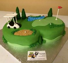 Golf course cake. By Tina at Get Cake Crazy.