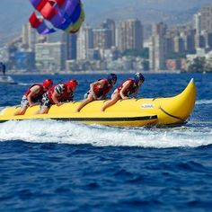 Great fun on the water at Carlos Water Sports Banana Boat Ride, Jet Ski hire,Flyfish ride or Parasailing