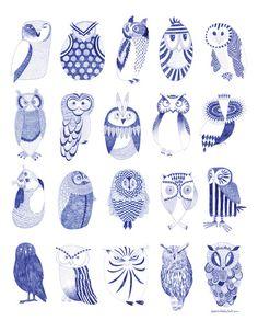 "Owlstreet by Karin Lindeskov Andersen. Art Print / MINI (8"" x 10"") $17.00"