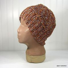 Headband Beanie Hat Gold Copper lite Blue Unique yarn Handmade crochet Winter Warm-gear by Syntryz on Etsy