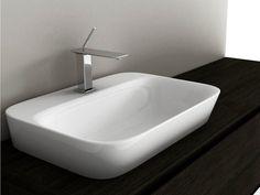 Rectangular ceramic washbasin SOUL 4 Soul Collection by Valdama Bathroom Tapware, Basin Sink Bathroom, Glass Basin, Bath And Beyond, Countertops, Basins, Bench, Ceramics, Black And White