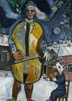 Marc Chagall - ( Russian/French, 1887-1985)  Le Violoncelliste - (1939)  oil on canvas