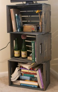 Wooden Crate bookshelf... Great explanation on how to weather a box And where to find cheap ones!