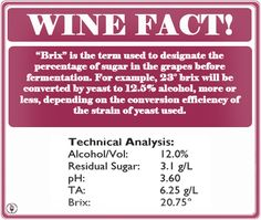 WINE FACT: What is Brix?  www.WineConsultantJob.com   Learn facts like this when you become a wine consultant!