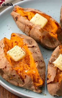 Baking sweet potatoes whole in the oven is arguably the easiest way to prepare them if youre really pressed for time you can always microwave your sweet potato. This perfect baked sweet potato recipe makes them a perfect base for all types of toppings. Baked Sweet Potato Oven, Perfect Baked Sweet Potato, Baked Potato Recipes, Cooking Sweet Potatoes, Roasted Sweet Potatoes, Baked Potatoes, Baking Sweet Potato, Baked Yams, Vegetarian Recipes