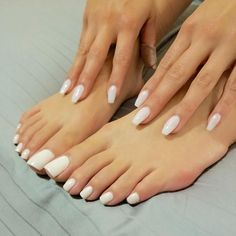 Image may contain: one or more people and closeup Pretty Toe Nails, Cute Toe Nails, Pretty Toes, White Toe Nail Polish, White Pedicure, Acrylic Toes, Nice Toes, Feet Nails, Beautiful Toes