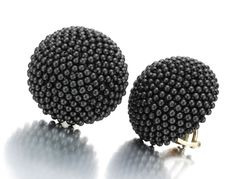 A Pair of Hematite Bead Ear Clips, by Hemmerle. Available at FD Gallery. www.fd-inspired.com