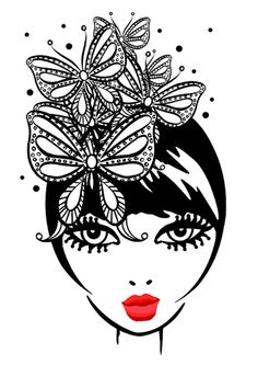 Butterflies&sexy red lips, made by fashion illustrator - Megan Hess