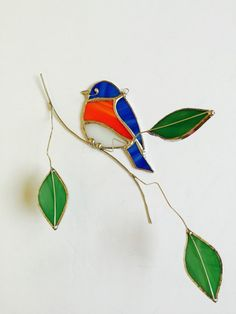 NEW 2016 design! Eastern Bluebird stained glass sun catcher with glass leaves on 3-dimentional wire branches.