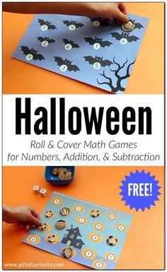 Halloween Roll & Cover Math Games different: number recognition game, basic addition game & basic subtraction game; from Gift of Curiosity) Halloween Math, Halloween Crafts For Kids, Halloween Activities, Subtraction Games, Math Games, Dice Games, Kids Learning Activities, Therapy Activities, Articulation Activities