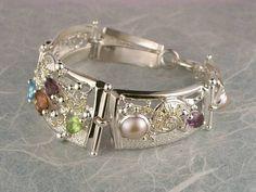 Gregory Pyra Piro #Armband Sterlingsilber und Gold mit Edelsteinen Unikat Nr. 3510