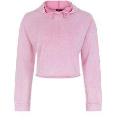Teens Pink Acid Wash Cropped Hoodie | New Look