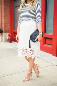 Striped Shirt + Lace Skirt – bows & sequins