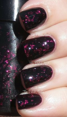 Cult Nails: Disillusion is hot pink shards of glitter in a black jelly base. #nailpolish