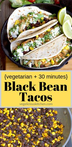 Vegetarian Black Bean Tacos - quick, easy and super tasty for when you're short on time! Vegetarian Comfort Food, Vegetarian Tacos, Vegetarian Recipes, Mexican Recipes, Easy Bean Recipes, Black Bean Tacos, Easy Vegan Dinner, Vegan Dinners
