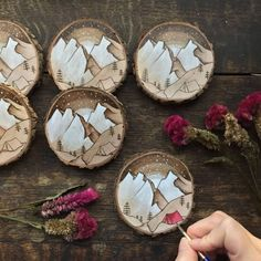 Tiny Paintings on Recycled Wood Pieces