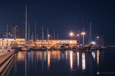 Cagliari's harbor at night.