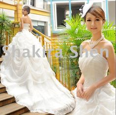 Wedding dress with long train